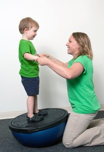 patient receiving pediatric physical therapy